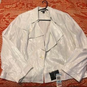 NWT Alfani Woman White Shimmer Linen Jacket (20W)